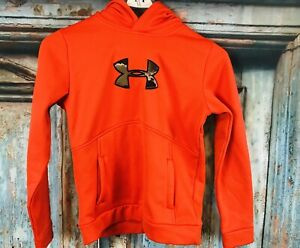 UNDER ARMOUR BOYS YOUTH HOODIE PULLOVER Orange SIGNATURE STORM 1 L CAMO Logo