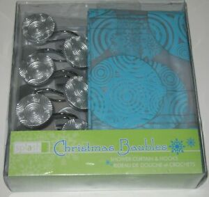 Christmas Baubles Turquoise Blue Shower Curtain with Hooks by Splash Home NEW