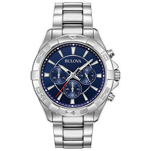 Bulova Men's Quartz Chronograph Blue Dial Silver Tone Sport 43mm Watch 96A215