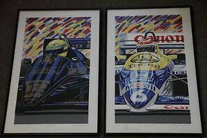 Senna and Piquet Formula One Prints by Randy Owens SIGNED 1986 $4100.00