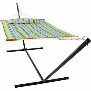 Sunnydaze Quilted Spreader Bar Hammock with 15-Foot Stand - Blue and Green
