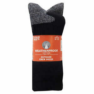 Weatherproof Men's Outdoor Crew Sock, 4-pair, Black Color