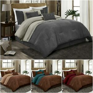 Chezmoi Collection Chandler 7 Piece Western Lodge Micro Suede Comforter Set