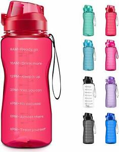 Motivational Water Bottle 2.2L 64oz Half Gallon Jug with Straw and Time Marker
