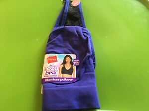A66 Hanes Get Cozy Seamless Pullover Wire Free Bra All Day Comfort Size L Blue
