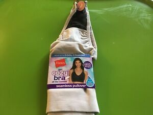 Hanes Womens Get cozy bra All day comfort Wirefree Seamless pullover large Gray