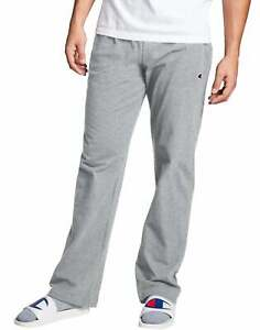 Champion Men#x27;s Open Bottom Jersey Pants Gym w Pockets Authentic Light Weight