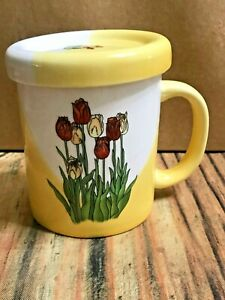 PORCELAIN TEA CUP MUG WITH LID & INFUSER STRAINER Red and Yellow Tulips