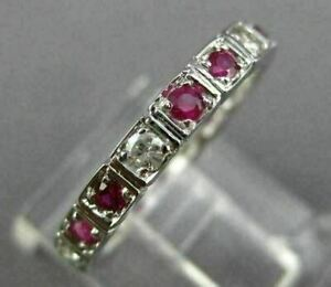 1.2Ct Estate Diamond amp; Red Ruby 14K White Gold Over Eternity Wedding Band Ring
