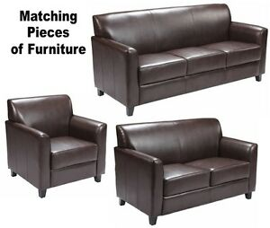 MATCHING Brown Leather Furniture Sofa Loveseat Chair Sofas Chairs Office Lobby