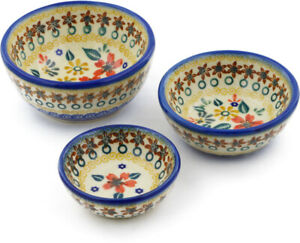 Polish Pottery bowls nesting set of 3 Red Anemone Meadow