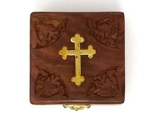 Vintage Hand Carved Floral Brass Cross inlay Wooden Box Brand New $7.30