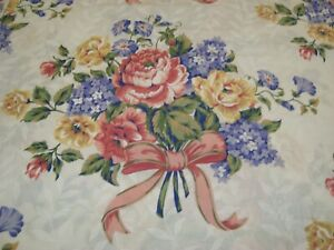 VTG CANNON FULL Double FLAT SHEET Floral Bouquet w/ Ribbons NICE!