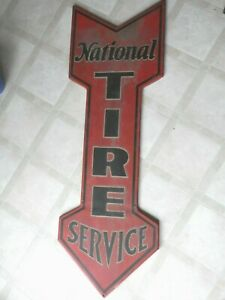 VINTAGE RARE CA.EARLY 1900'S NATIONAL TIRE SERVICE GAS STATION 48 Metal Sign VN