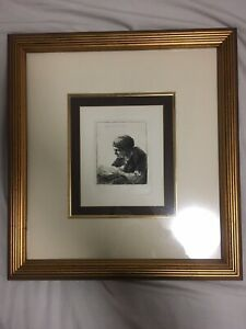 REMBRANDT 1634 Etching SIGNED Woman Reading Original Durand w COA Framed $400.00