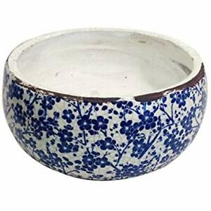 Old World Vintage Blue White Floral Ceramic Garden Pots 2 Sizes Available