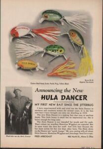 1946 HULA DANCER LURE BAIT FISHING SPORTING ARBOGAST AD HF-0217