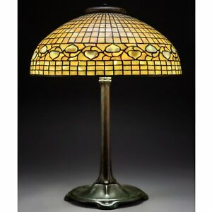 "Tiffany Studios 20 Inch ""Acorn"" Stained Glass Shade And Bronze Table Lamp"