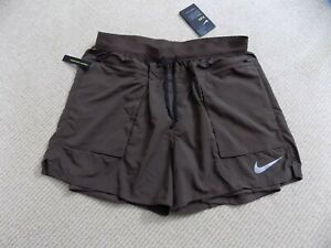 NEW NIKE MENS L LARGE STRIDE ELEVATE RUNNING SHORTS 5 inch 2 in 1 BROWN 928460