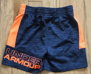 UNDER ARMOUR 3T TODDLER BOYS DARK GRAY & ORANGE ATHLETIC SHORTS
