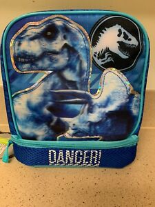 Lunchbox Bag Jurassic World Dinosaur Dual Compartments NEW Insulated