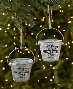 2-Pc Metal Sentiment Buckets Christmas Tree Ornaments Country Farmhouse Holiday