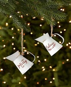 Set of 2 Metal Pitchers Christmas Tree Ornaments Country Farmhouse Holiday Decor