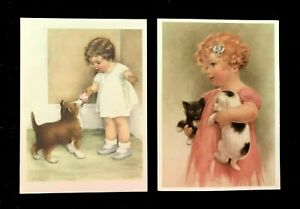 2 VTG BESSIE PEASE GUTMANN LITHO CARDS PORTAL PUBLICATIONS LTD