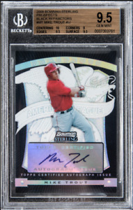 MIKE TROUT 2009 Bowman Sterling BLACK Refractor ROOKIE RC SP AUTO / 25 BGS 9.5