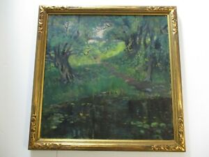 THOMAS BARNETT PAINTING EARLY AMERICAN IMPRESSIONIST LARGE EXHIBITED ANTIQUE