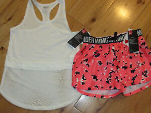 Under Armour white tank top & patterned shorts NWT girls' M YMD $27.89