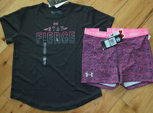 Under Armour printed logo patterned bike shorts NWT girls' L YLG gray black pink