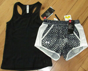 Under Armour black ribbed tank & black patterned shorts NWT girls' M YMD