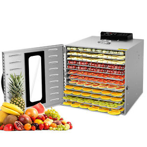 KWASYO 10 Tray Food Fruit Dehydrator W light and Timer Dryer Stainless Steel US