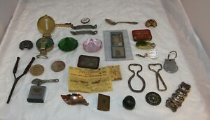 Junk Drawer Lot Openers Compass Fishing License Tin Pinback Button Miscellaneous