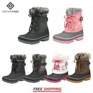 DREAM PAIRS Kids Boys Girls Winter Snow Boots Ankle Waterproof Warm Ski Boots $24.99