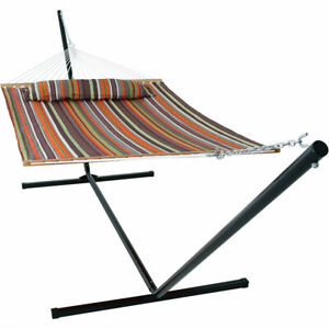 Sunnydaze Quilted Spreader Bar Hammock and 15-Foot Stand - Canyon Sunset