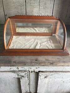 Antique Small Curved Glass Oak Display Showcase Country Store $600.00