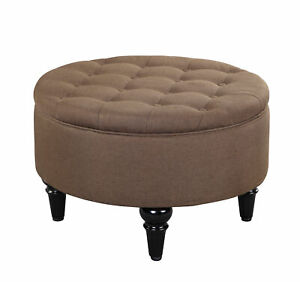 Kings Brand Furniture – Round Storage Ottoman with Tray Top Brown