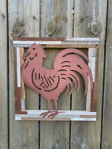 rooster kitchen decor new Barn Wood Framed Hand Made Wall Hang Farm House