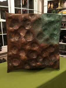 MidCentury Modern Brutalist Abstract Solid Copper Large Wall Sculpture Patina