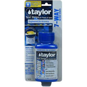 Taylor 7-Way Test Strips - 50 Strips - S-1335 for Pools & Spas Total Chlorine pH