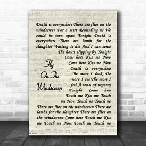 Fly On The Windscreen Vintage Script Song Lyric Quote Music Print