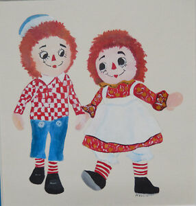 Vintage Original Watercolor Painting Raggedy Ann and Andy Signed Merrill Matted $24.95