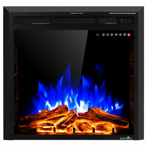 26'' 750W-1500W Fireplace Electric 5-Mode Embedded Insert Heater Glass Log Flame