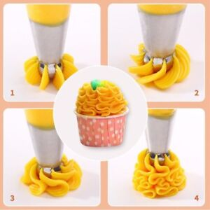 3PCS Cream Cookies Mold Piping Nozzles Russian Icing Cake Piping Decorating Tool