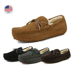 Men#x27;s Sheepskin insole Moccasin Toe Suede leather Slippers Slip On Shoes US Size