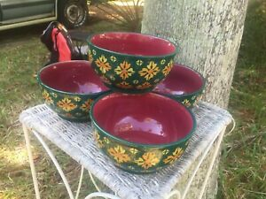 4 Pioneer Woman Soup Cereal Bowls Autumn Harvest Gorgeous Teal Burgundy Retired