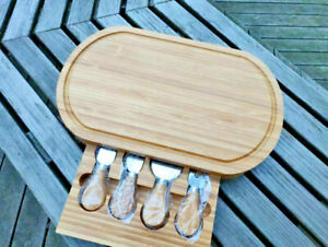 Bamboo Wood Cheese Serving Platter Board w/ Knife Set