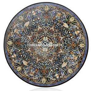 Black Marble Confrence Side Table Top Scagliola Inlay Ancient Design Decor H3887